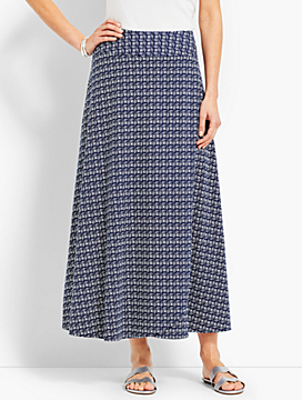 Casual Jersey Maxi Skirt - Faded Geo