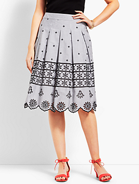Eyelet Pleated Stripe Skirt
