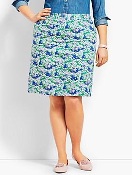 A-Line Stretch Skirt - Flower Print