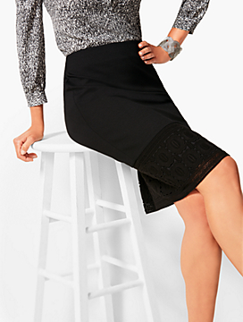 Refined Ponte Lace-Hem Pencil Skirt