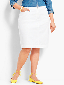 Denim Pencil Skirt - White