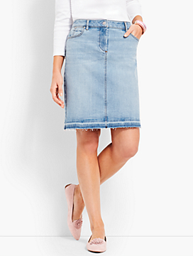Denim Pencil Skirt - Polished Frayed Hem