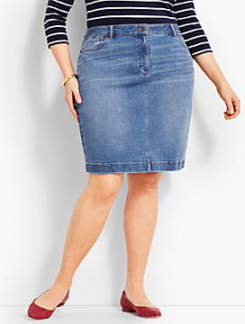 Denim Pencil Skirt - True Blue Wash