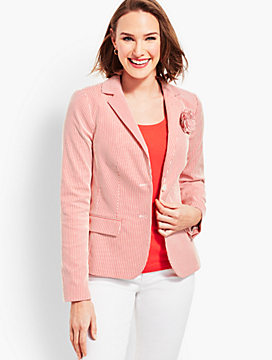 Stripe Blazer with Corsage