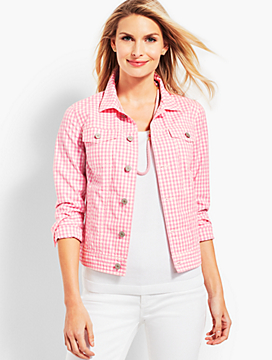 Pink Gingham Denim Jacket