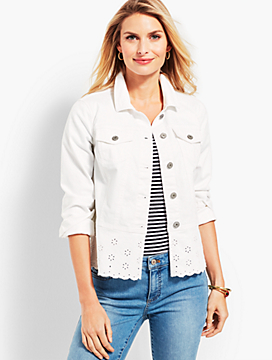 Peplum White-Denim Jacket