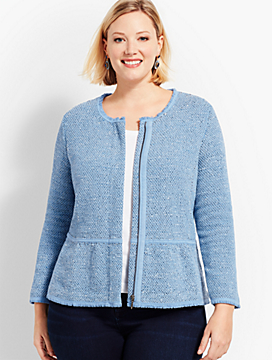 Plus Size Exclusive Space-Dyed Tweed Sweater Jacket