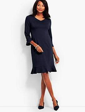 Flounce Refined Ponte Sheath Dress