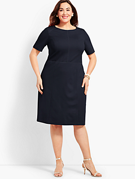 Womans Exclusive Short-Sleeve Ponte Ladder-Trim Sheath Dress