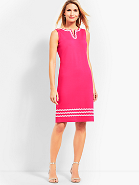 Rickrack-Trim Ponte Shift Dress