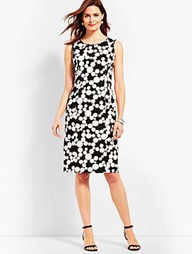 Scallop-Detail Dot Sheath Dress