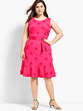 Flower Applique Fit-and-Flare Dress