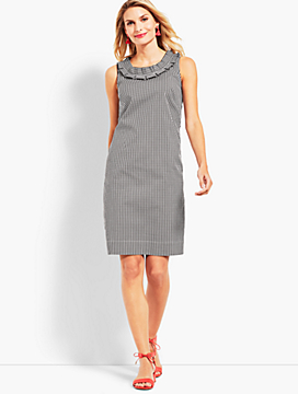 Gingham Pleated-Neck Shift Dress