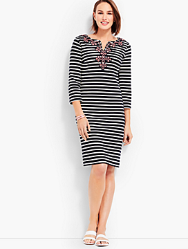 Embroidered-Neckline Stripe Shift Dress