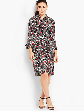 Ruffle-Sleeve Jersey Shirtdress - Vine-Print