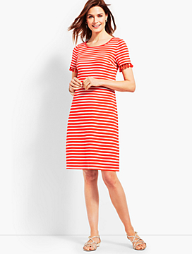 Tassel Trim Striped Shift Dress