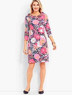 Flower Print Ruffle Jersey Shift Dress