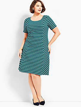 Fit & Flare Dress-Stripe