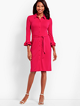 Ruffle-Sleeve Jersey Shirtdress - Solid
