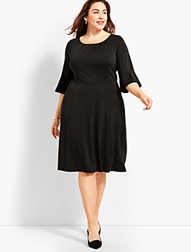 Womans Exclusive Knit Jersey Flounce-Sleeve Fit & Flare Dress