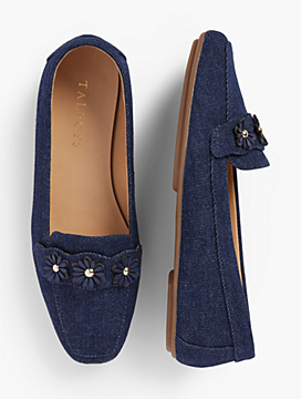 Becca Moccasins - Denim-With-Flowers