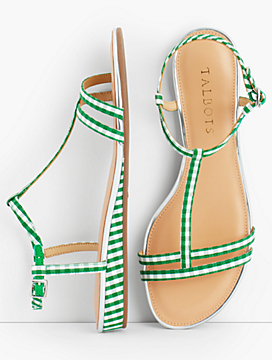 Daisy Micro-Wedge Sandals - Gingham