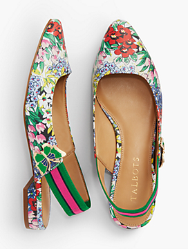 Edison Printed Slingbacks With Butterfly