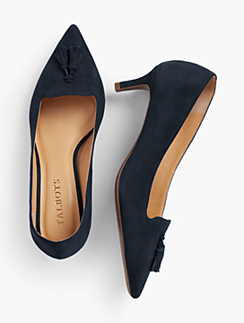 Erica Tasseled Kitten-Heel Pumps-Kid-Suede