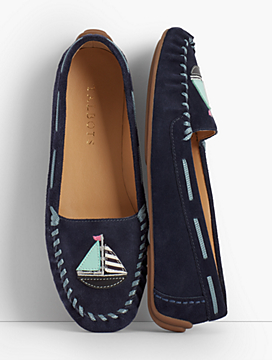 Everson Driving Moccasins - Sailboat Applique
