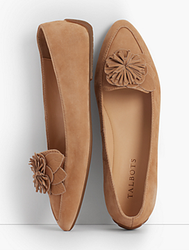 Francesca Flower Driving Moccasins- Kid-Suede