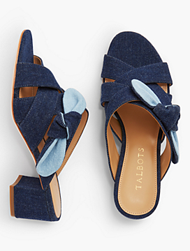 Georgia Knot Slide Sandals-Denim
