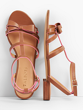 Keri Bow Vachetta Leather Sandals