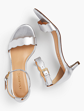 Pila Kitten-Heel Sandals - Metallic Nappa Leather