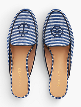 Ryan Striped Denim Mules With Anchor Embroidery