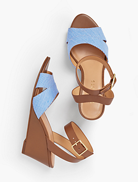 Vivian Wedge Sandals - Cotton