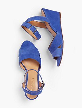 Vivian Wedge Sandals - Kid Suede