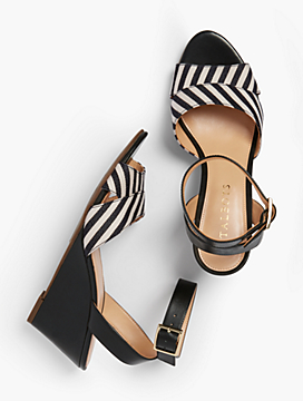 Vivian Wedge Sandals - Yarn-Dyed Stripe