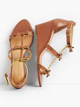Royce Bow Wedge Sandals - Vachetta Leather
