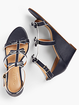 Royce Bow Wedges - Vachetta Leather