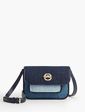 Pieced Pebbled Denim Crossbody