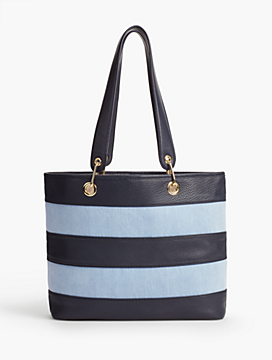 Pieced Pebbled Denim Tote