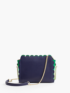 Plano Scalloped-Leather Crossbody Bag