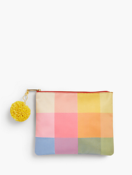 Multi Gingham Beach Pouch