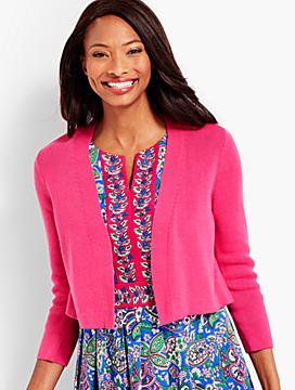 Three-Quarter-Sleeve Back Peplum Knit Shrug