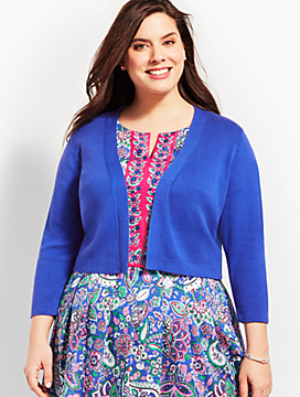 Plus Size Exclusive Three-Quarter-Sleeve Back Peplum Knit Shrug