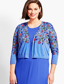 Womans Exclusive Classic Open-Front Shrug - Spring Garden