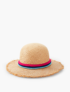 Mini Pom-Pom Frayed Sunhat