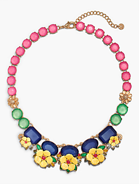 Layered Flowers & Stones Necklace