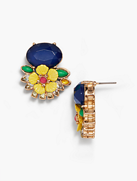 Layered Flowers and Stones Stud Earrings