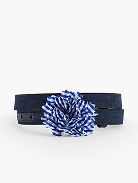Cotton Denim Flower Belt